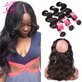 360 Lace Frontal Closure With Bundles Indian Body Wave With Lace Frontal Closure,360 Lace Frontal With Bundle 100% Human Hair