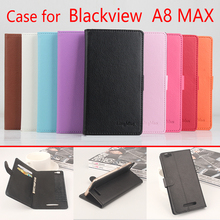 Blackview A8 Max Case Cover Luxury Vintage Litchi Grain Flip Leather Wallet Phone Bag Case for Blackview A8 Max