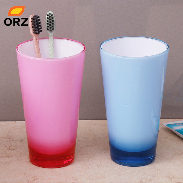 Merveilleux ORZ 2PCS Acrylic Couple Tumbler Cups Thicken Bathroom Tooth Mug Tooth Brush  Holder Water Juice Mug