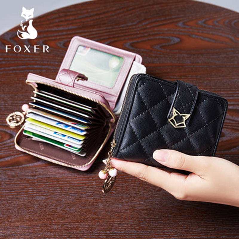 FOXER Short Wallet Girl's Genuine-Leather High-Quality Women Purse Fashion