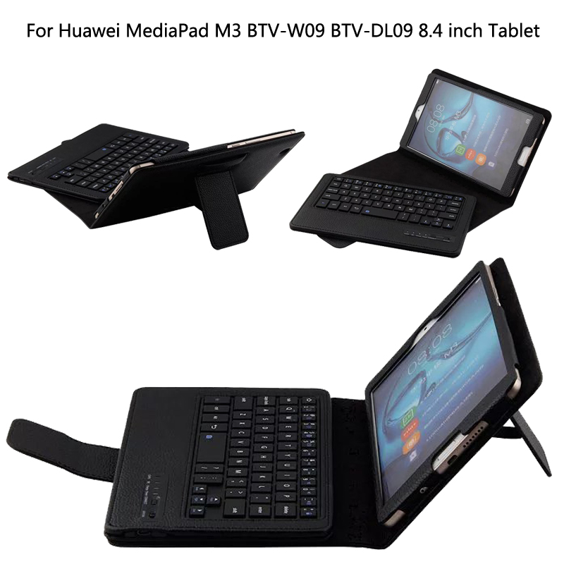 Wireless Bluetooth Keyboard +PU Leather Cover Protective Smart Case For Huawei MediaPad M3 BTV-W09/DL09 8.4 inch Tablet + Gift ultra slim pu leather case w wireless bluetooth keyboard for huawei mediapad m2 10 0 tablet keyboard case smart folio cover