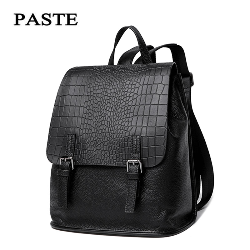 Paste New leather bag Black backpack soft leather first layer leather bag crocodile pattern fashion casual tide bag P0131