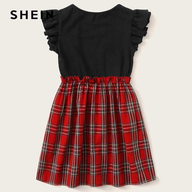 SHEIN детский отделанные оборками для девочек проймой с поясом-оборкой Colorblock (цветовой блок), в шотландскую клетку элегантное платье Дети 2019 летнее платье без рукавов с оборками и коротким рукавом платья