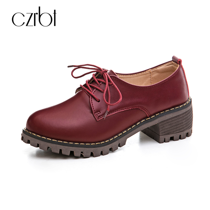 CZRBT Classic Genuine Leather Women 2018 Spring Autumn Lace-Up Leather Shoes Women Solid Color Round Toe Flat Shoes Casual Flats women shoes spring autumn genuine leather flat shoes round toe lace up flats ladies moccasins