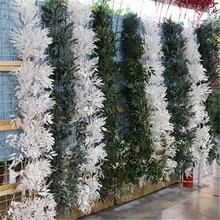 one piece Artificial Green & White Willow Leaf Vine Silk Olive Plant Tree Bracnhes for Greenery Wall Decoration