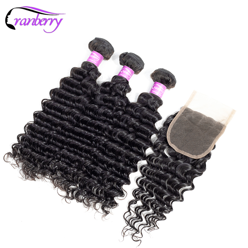 CRANBERRY Hair Deep Wave Bundles With Closure 3 Bundles Malaysian Hair Bundles With Closure 4 4