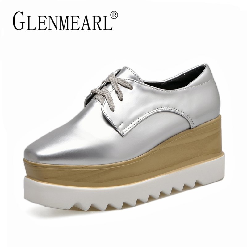 Harajuku Women Flats Platform Shoes Brand Thick Bottom Lace Up Black Silver Fashion Casual Female Shoes Flats Woman Plus Size 40 padegao brand spring women pu platform shoes woman brogue patent leather flats lace up footwear female casual shoes for women