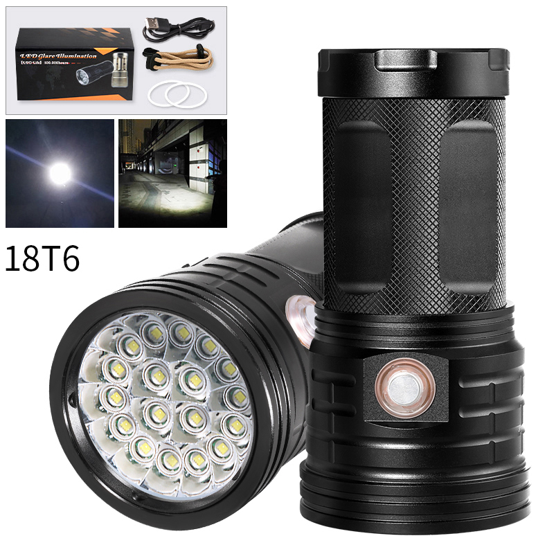 18 * T6 LED Torch Strong Bright LED Flashlight 3 Modes USB Charging Linterna Portable Lamp For Charging Phone Power Bank