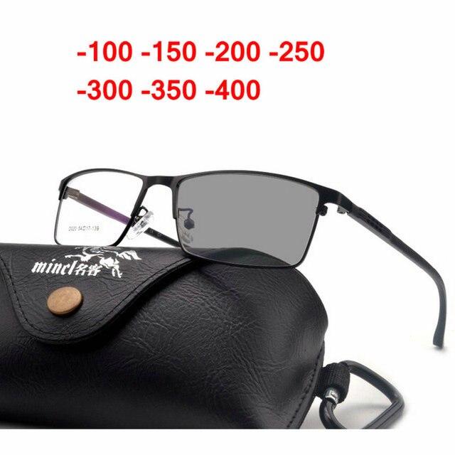 1a2424f8c8d1e Fotocromáticas Óculos de Sol retro Acabamento de Metal quadrado óculos de  miopia homens mulheres Óculos Míopes
