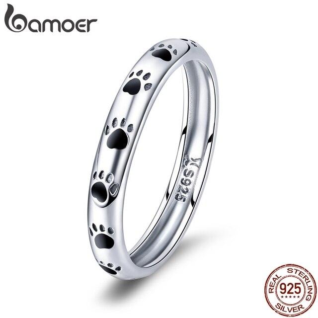 BAMOER 925 пробы серебро стекируемые собака кошка следы палец кольца для женщин обручальное кольцо ювелирные изделия подарок ко Дню Святого Валентина SCR445
