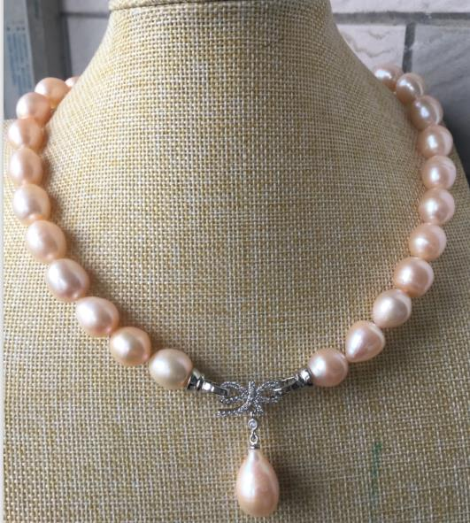 gorgeous 13 14mm south sea baroque gold pink pearl necklace pendant
