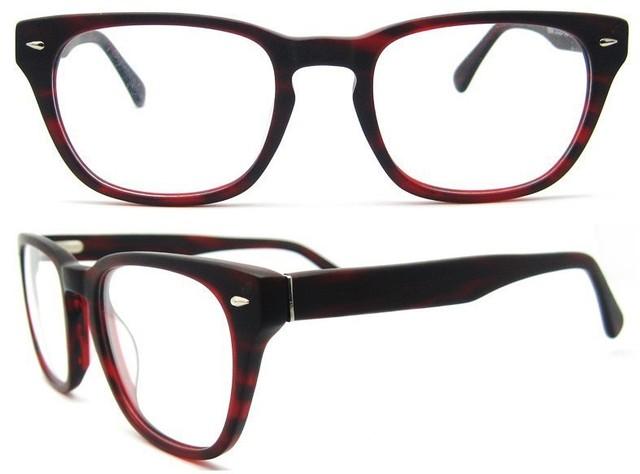 Venda quente 2016 new arrival top fashion listrado colorB140263 prescrição óculos moda quadro com dobradiça de mola de vidro vermelho
