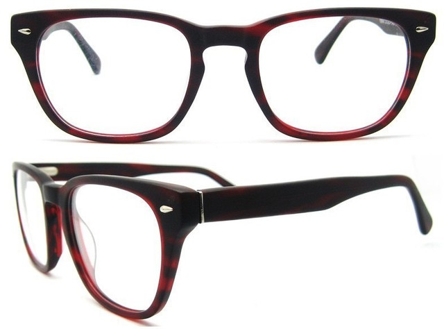 hot selling 2016 new arrival top fashion striped prescription glasses fashion glass frame with spring hinge red colorB140263