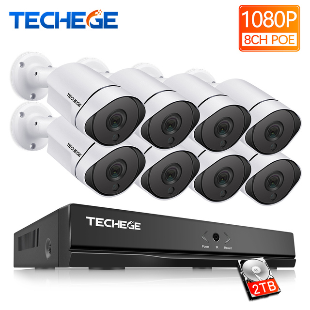 Techege 1080P 8CH Surveillance System 3000tvl PoE Kit 8CH PoE NVR 1080P IP Cameras PoE Waterproof Motion Detection Onvif RTSP