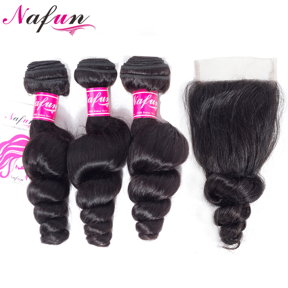 NAFUN Hair Loose Wave Human Hair Brazilian Bundles With Closure Non Remy 3 Bundles With 4*4 Closure 4 Pcs Natural Color Hair