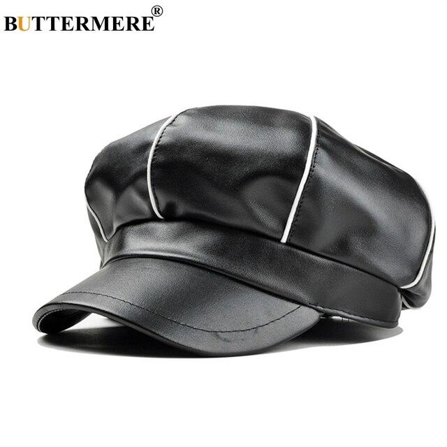 BUTTERMERE Marca Cap Gatsby Jornaleiro Chapéus Para Os Homens de Couro  Preto Primavera Masculino Estilo Britânico c4c64648bab