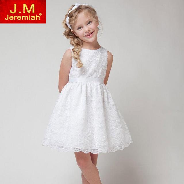 2017 Nuevos Vestidos de Las Muchachas Ropa de Los Niños Muchachas Hermosas Vestido de Partido Del Cordón de Boda Blanco Vestido de Los Cabritos Para La Edad 3-8Y