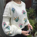 Autumn and winter women's new Korean small fresh flower embroidery short loose sweater pullover shirt