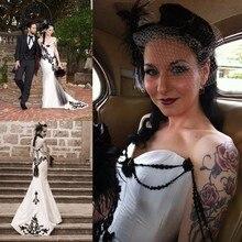 Vintage 2019 encaje negro y satén blanco vestidos de boda cuello novia sexy sirena árabe gótico vestidos de novia mariee