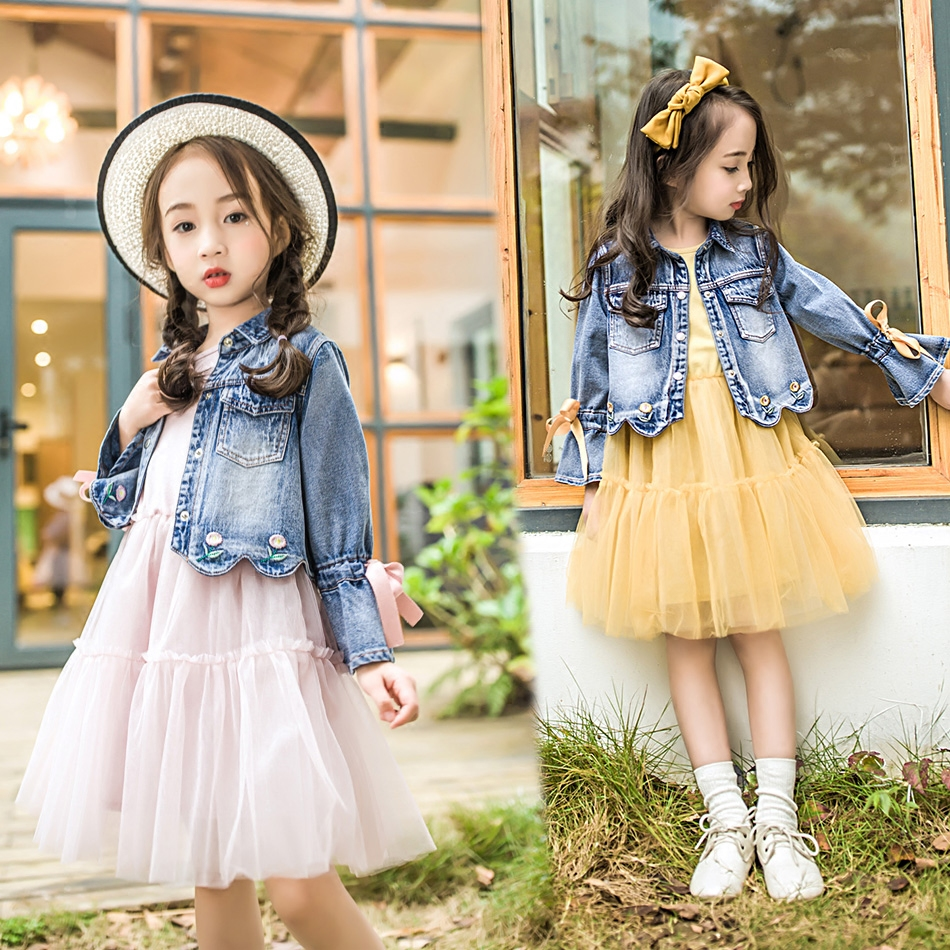 2018 spring children girls dress teenage girls clothing sets dress+coats 2pcs denim jackets clothes 3-14 years kids girl clothes fashion autumn girl clothing sets denim outfits girls clothes sets jeans jackets shirt patchwork dress 2pcs suits with necklace