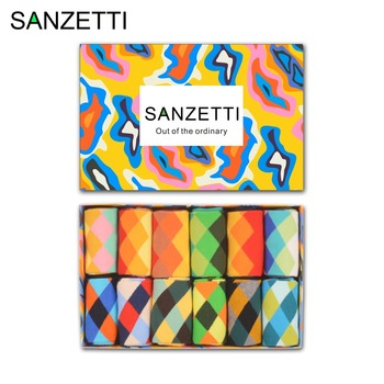 SANZETTI  12 pairs/lot Gift Box Funny Men's Combed Cotton Causal Dress Crew Socks Classic Geometry Pattern Novelty Wedding Socks