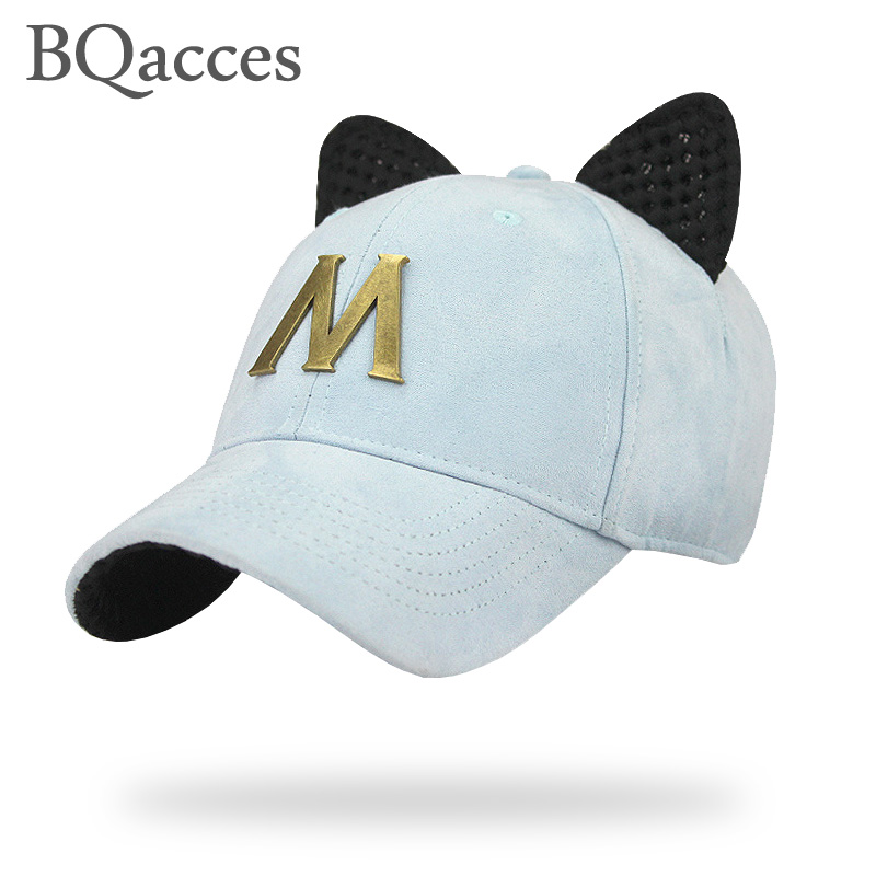 Prix pour BQacces nouvelle mode solide couleur 100% coton strapback casquette de baseball avec oreille et métal lettre M femmes soleil d'été chapeau chapeau de camion