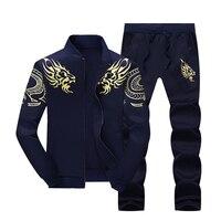 Printemps et automne nouveau hommes courir sport ensemble de grande taille zipper veste pantalon Coréenne style tendance des jeunes veste de collège s