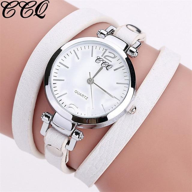 CCQ Brand New Luxury Fashion Leather Bracelet Watch Ladies Quartz Watch Casual W