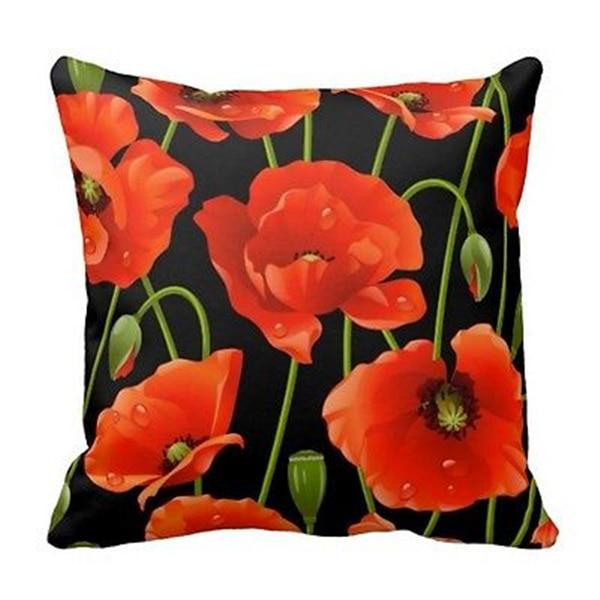 Chic Hitam Merah Poppy Poppy Bunga Cushion Dekorasi Lempar Bantal