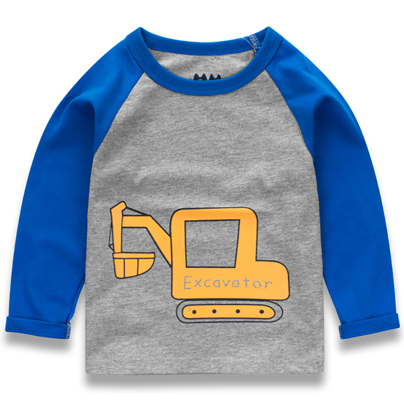 Для маленьких мальчиков футболка детская Костюмы 2018 автомобилей мультфильм шаблон одежда Обувь для мальчиков топы с длинными рукавами дет...