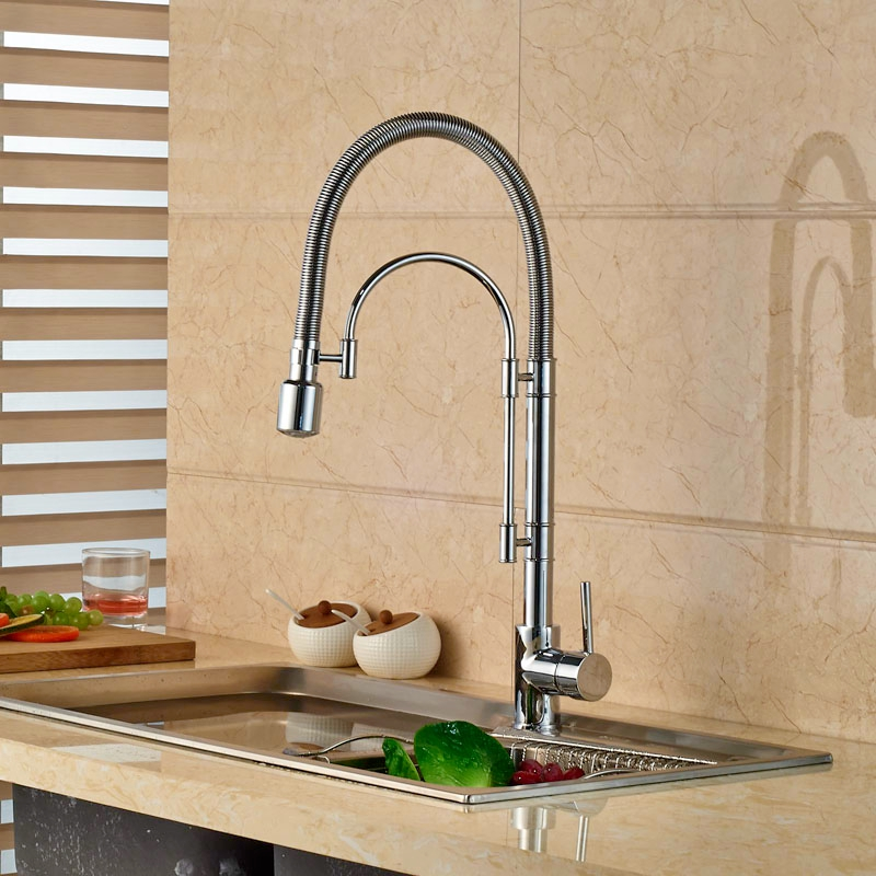 LED Light Brass Chrome Finish Kitchen Faucet Single Lever One Hole Hot Cold Taps