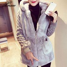 Xnxee Women Casual Warm Outwear Autumn Jacket Fashion Female Slim Coat Overcoat Plus Size Hooded Faux Wool Elegant Blends