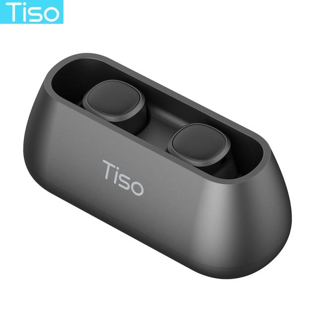 Tiso i4 TWS headphones 5.0 Bluetooth wireless earphones magnetic design built-in dual mic and 500mAh power bank charging box 3