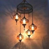 3/5 Heads Turkey ethnic customs Pendant lamp romantic Hotel cafe restaurant bar Pendant light living room balcony stairs lampe