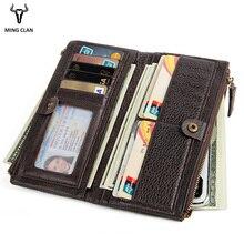 Mingclan Women's Purse Long Genuine Leather Wallet Men Long