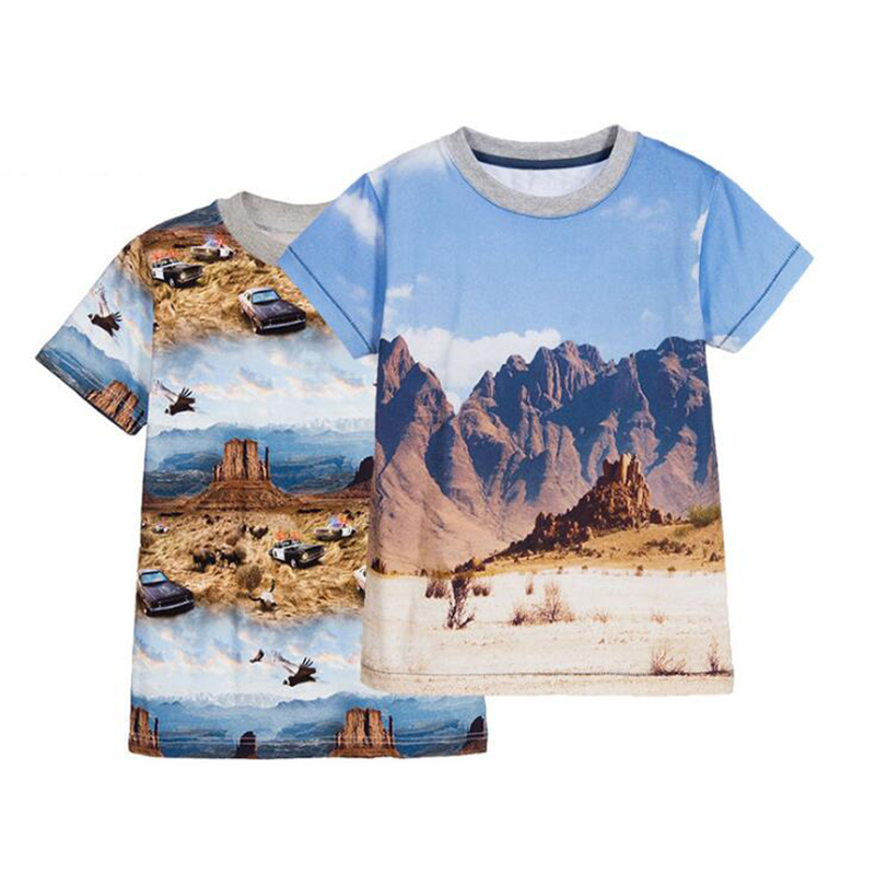 T-Shirts For Boys Summer Cotton Kids Top Print Short Sleeve Toddler Clothes 3D Mountain Police Car Boys T-Shirt Children Clothes (1)