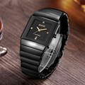Top Luxury Brand Watch Men Ceramic Band Men's Watch Sapphire Crystal Quartz Wrist Watch for Women Square Waterproof Lovers Watch