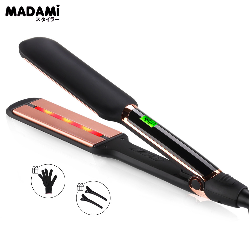 MADAMI Infrared Technology Hair Care Ion Straightener MCH Fast Heating Tourmaline Ceramic And Infrared Dual Plates LCD Flat Iron