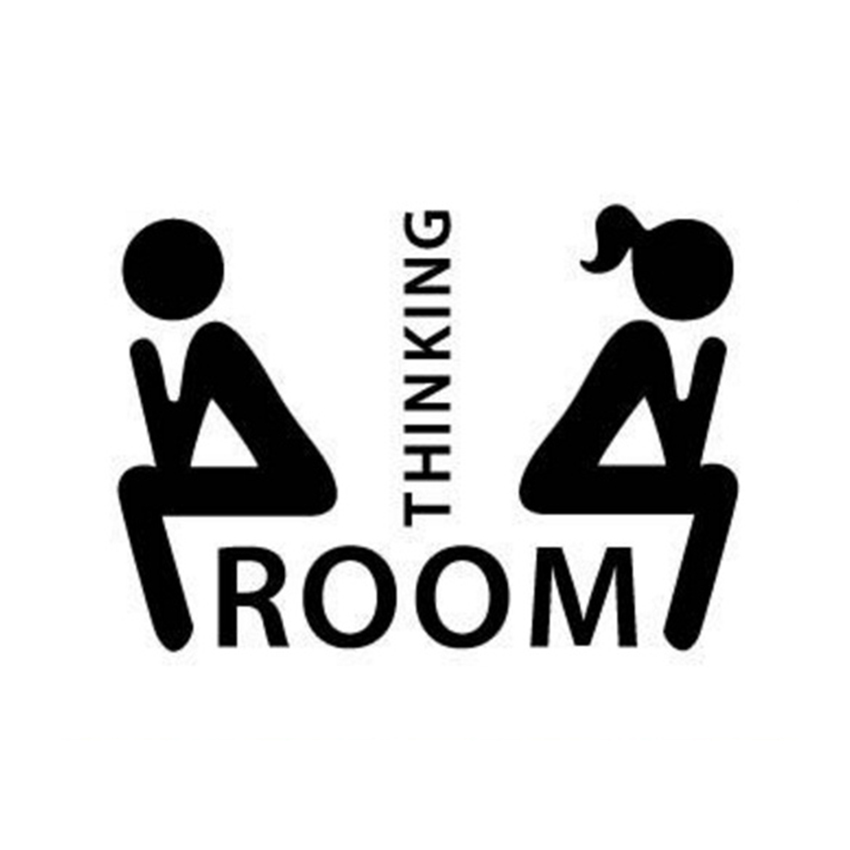 thinking toilet sticker home decor wall stricker funny. Black Bedroom Furniture Sets. Home Design Ideas