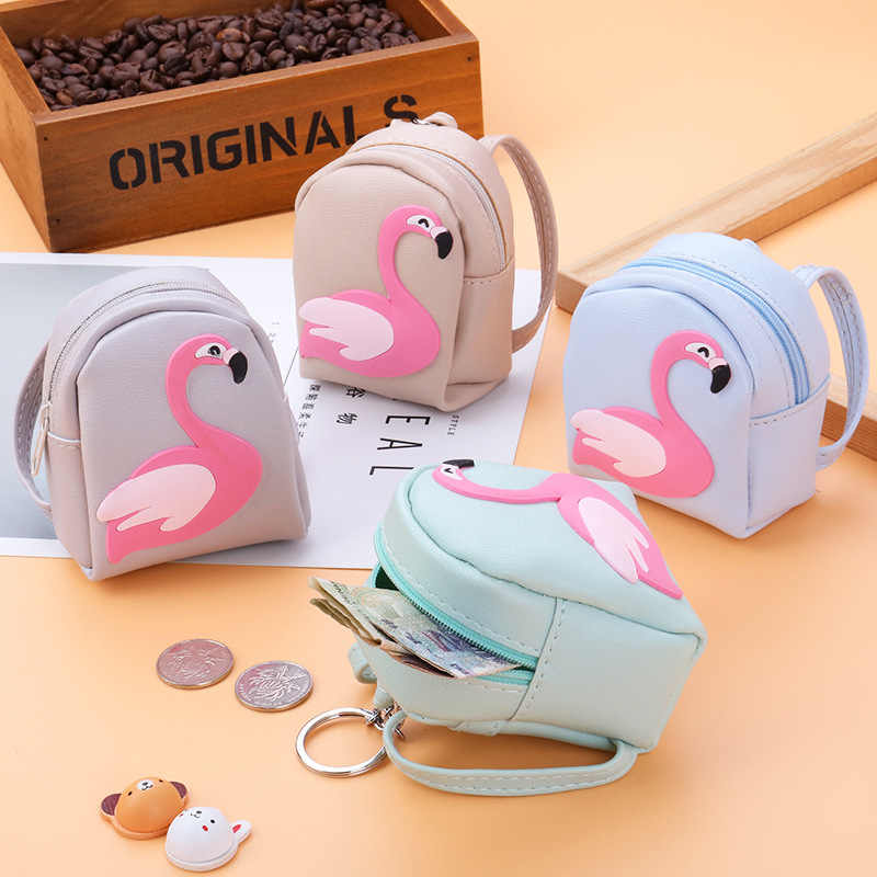 Casual Flamingo Mini Backpack Coin Bag Women Small Wallet Fashion Pu Keychain Purses Student Kid Cute Headphone Money Hand Pouch