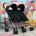 Bebé doble paraguas de aluminio completo súper ligero y portátil trolley niño doble bebé carro
