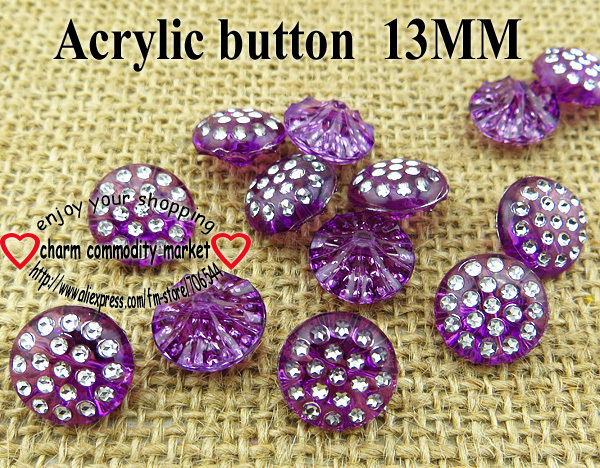 100PCS 13MM purple Acrylic Rhinestone buttons coat boots sewing clothes accessories R-080-1