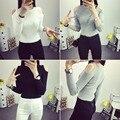 2016 Mujeres de Las Señoras Sexy Hombro Gargantilla de Punto Camisetas Streetwear Superior Jersey Camiseta Ocasional Para Las Mujeres