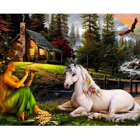 The girl and horse 5 D Diamond painting decor Mosaic diamond embroidery rhinestone drawing animal drill cross stitch