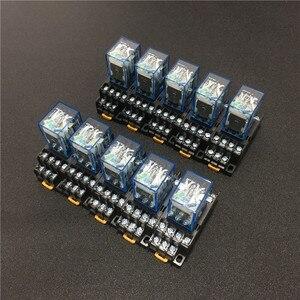 Image 1 - 10 セット MY4NJ HH54P DC 12 V 24 V 110 V 220 220v の Ac コイル電力リレー汎用ミニリレー 14 ピン 5A と PYF14A ソケットベース