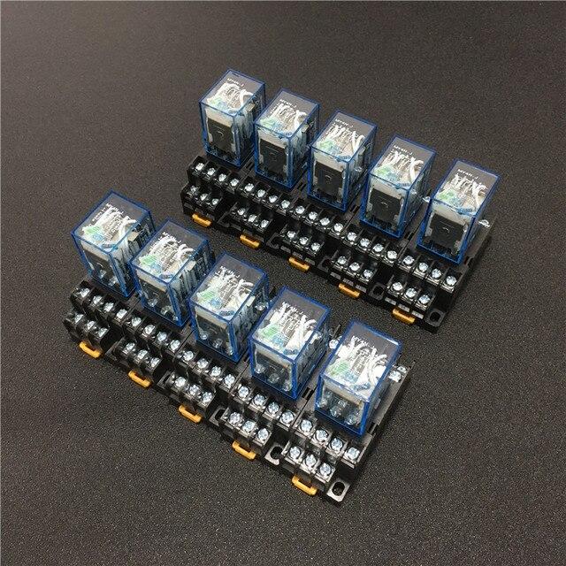 10 セット MY4NJ HH54P DC 12 V 24 V 110 V 220 220v の Ac コイル電力リレー汎用ミニリレー 14 ピン 5A と PYF14A ソケットベース