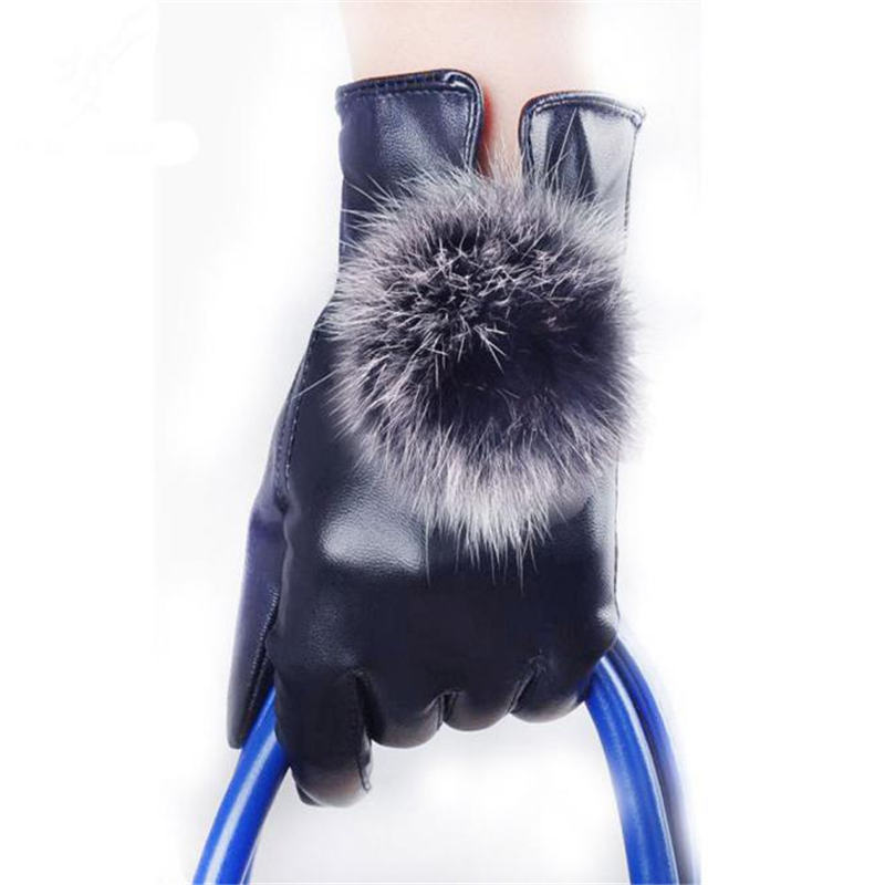 Women Leather Gloves Autumn Winter Warm Rabbit Fur Gloves Mittens Hand Gloves Guantes Eldiven Handschoenen 40FE19