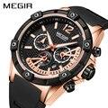 Мужские часы megir Quartz из розового золота, светящиеся водонепроницаемые спортивные часы, наручные часы с хронографом Erkek Kol Saati Montre Homme