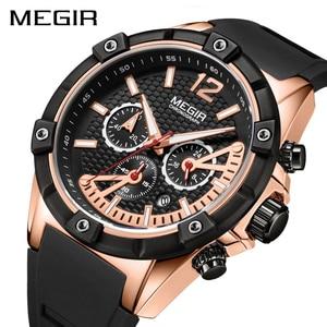 Image 1 - Мужские часы megir Quartz из розового золота, светящиеся водонепроницаемые спортивные часы, наручные часы с хронографом Erkek Kol Saati Montre Homme