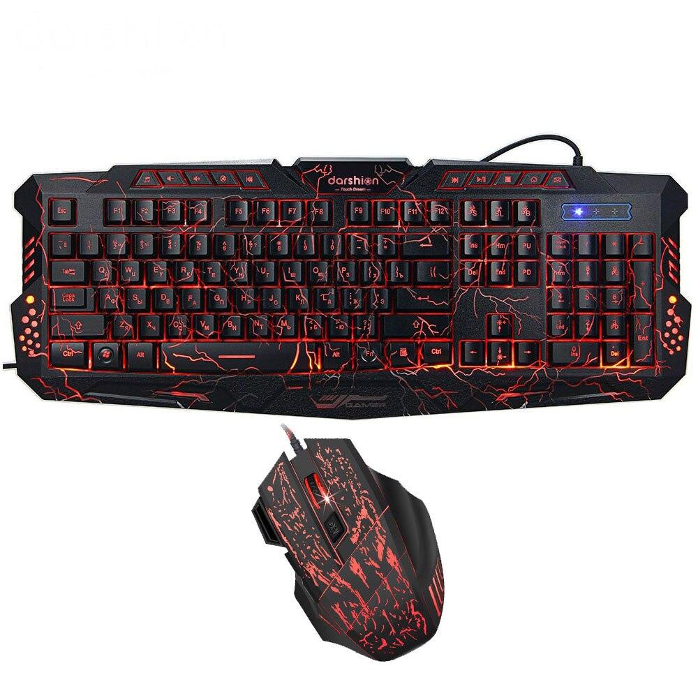 Russo Tastiera Gaming Mouse Combo Retroilluminato A LED + Colorful Luce Respirazione Mouse Da Gioco 7 Bottoni 3600 dpi per il Computer Portatile Desktop